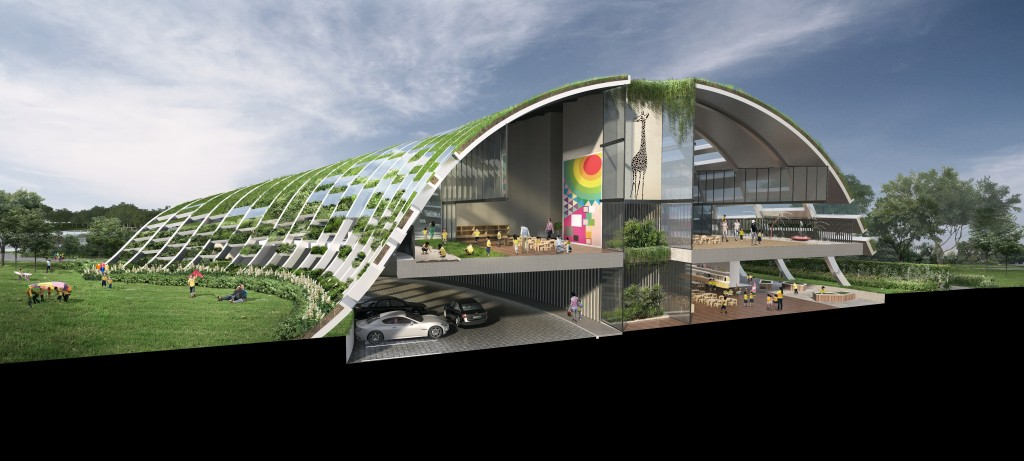 The new Skool4Kidz Campus @ Sengkang Riverside Park will be Singapore's first large child care centre in a public park. It was conceptualized to seamlessly blend into the surrounding, giving a facade of a rolling-hill, as if the campus is rising from the park grounds.